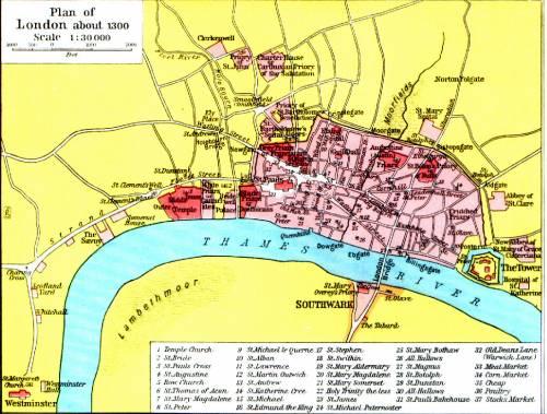 План лондона около 1300 года